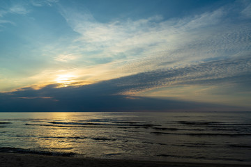 calm blue sunset over clear water in baltic sea