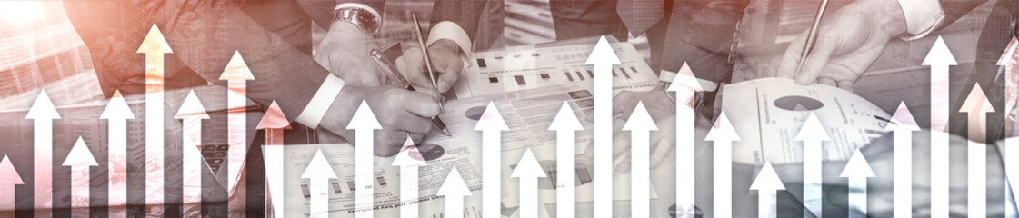Financial growth arrows on blurred background. Business, Investment, Trading concept. Website header banner.