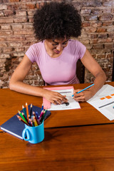 Happy african american business woman reviewing reports