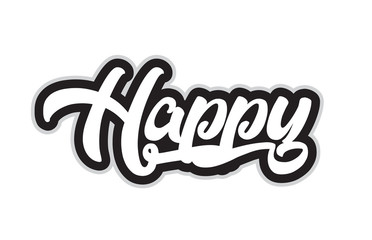 black and white happy hand written word text for typography logo design