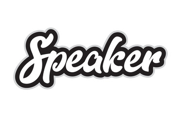 black and white speaker hand written word text for typography logo design