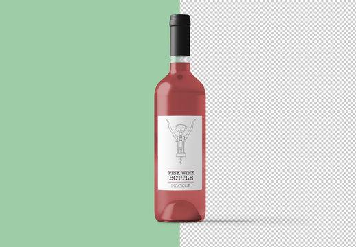 Pink Wine Bottle Mockup