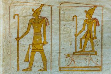 Wallpainting of the egyptian god Osiris