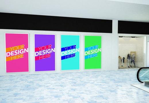 Four Vertical Advertisements in Mall Mockup