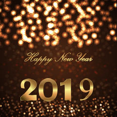 2019 happy new year bright greeting card background. Happy New Year greeting card. Beautiful holiday background.
