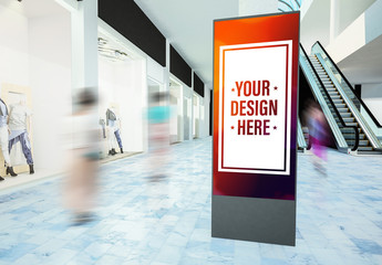 Digital Billboard in Mall Mockup