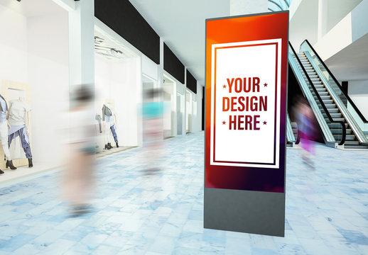 Digital Billboard in Mall Mockup