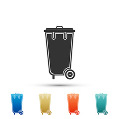 Recycle bin with icon isolated on white background. Trash can icon. Set elements in colored icons. Flat design. Vector Illustration
