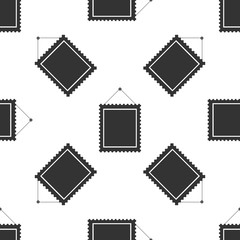 Rectangular picture frame hanging on the wall icon seamless pattern on white background. Flat design. Vector Illustration