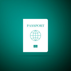 Passport with biometric data icon isolated on green background. Identification Document. Flat design. Vector Illustration