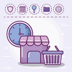 shopping basket with set icons