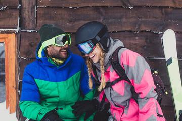 Couple Enjoying Skiing Vacation