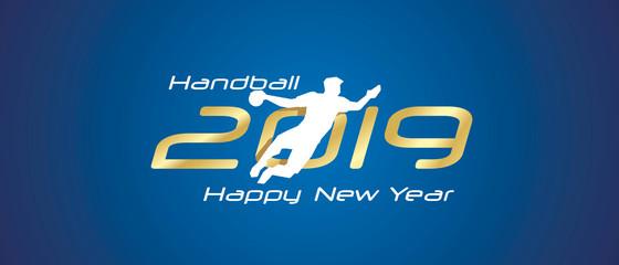 Handball silhouette 2019 Happy New Year gold white logo icon blue background