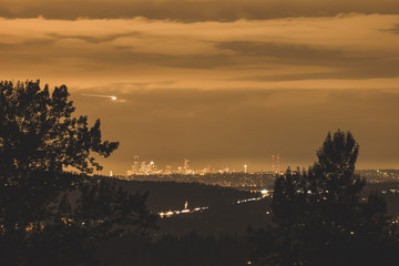 City Lights of Seattle at Night