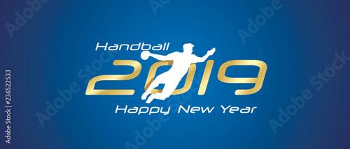 Handball silhouette 2019 Happy New Year gold white logo icon