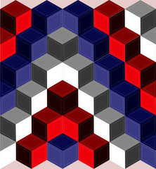 Red, white, and blue cube quilt