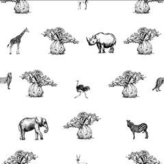 Seamless pattern of hand drawn sketch style baobab trees and animals isolated on white background. Vector illustration.