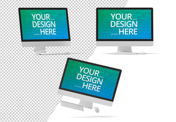 Three Desktop Computers Mockup