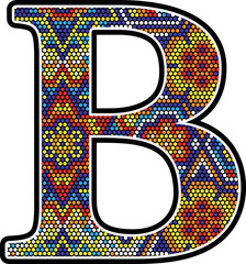 initial b with colorful dots abstract design with mexican huichol art style