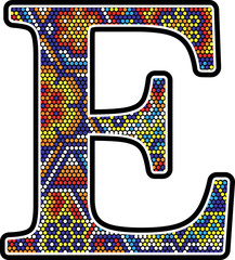 initial e with colorful dots abstract design with mexican huichol art style