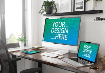 Four Devices on Desk Mockup