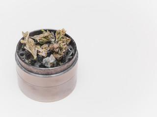 Cannabis or Marijuana Flower in Grinder