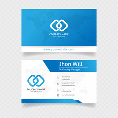 official business card template in blue colors with abstract ornament concept design vector eps 10