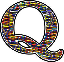 initial q with colorful dots abstract design with mexican huichol art style