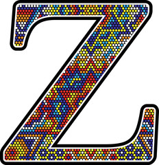 initial z with colorful dots abstract design with mexican huichol art style