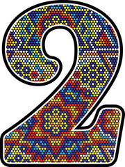 number 2 with colorful dots abstract design with mexican huichol art style
