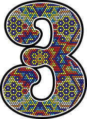 number 3 with colorful dots abstract design with mexican huichol art style