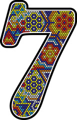 number 7 with colorful dots abstract design with mexican huichol art style isolated on white background