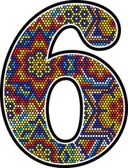 number 6 with colorful dots abstract design with mexican huichol art style isolated on white background