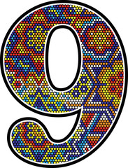 number 9 with colorful dots abstract design with mexican huichol art style isolated on white background