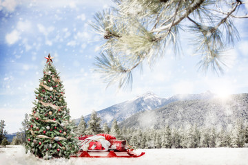Snowy Outdoor Christmas Tree Scene in Mountains