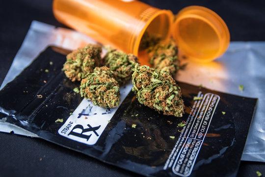 Medical marijuana flower on prescription package