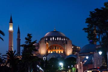 Hagia Sophia at night in istanbul
