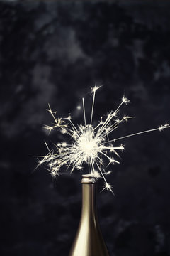 Champagne bottle with sparkler
