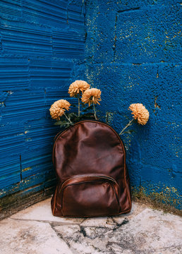 yellow flowers inside a leather backpack in a blue corner