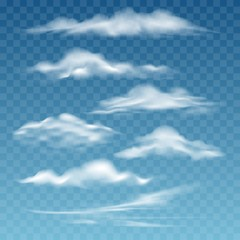Transparent storm clouds. Different beautiful white and smoke cloud set isolated on transparent background for blue sky