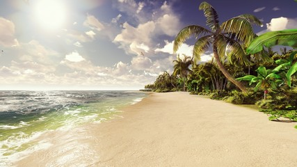 Palm trees on a tropical island with blue ocean and white beach on a Sunny day. 3D Rendering