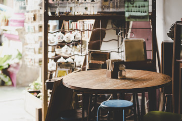 Table and chairs of vintage cafe  in Malacca