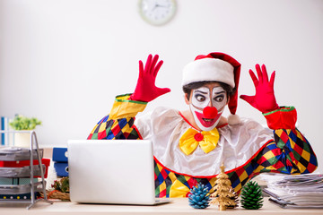Funny clown in Christmas celebration concept