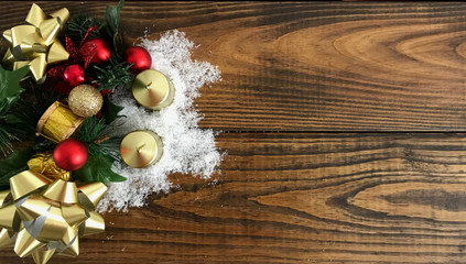 Christmas background decoration on dark wooden board. Photo image