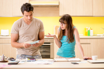 Young family struggling with personal finance