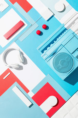 Boom box /cassette player in abstract designed composition.