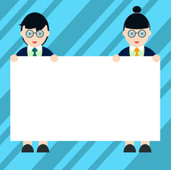 Design business Empty copy space text for Ad website promotion isolated Banner template. Male and Female in Uniform Standing Holding Blank Placard Banner Text Space