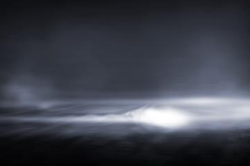 Creative blurry outdoor asphalt background with mist light high speed