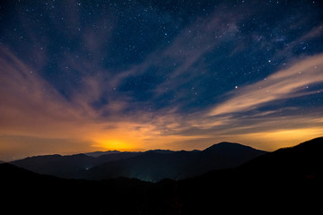 Night sky with stars before sunrise