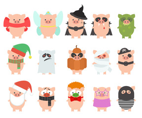 The set of pigs in festive carnival costumes. Vector cartoon